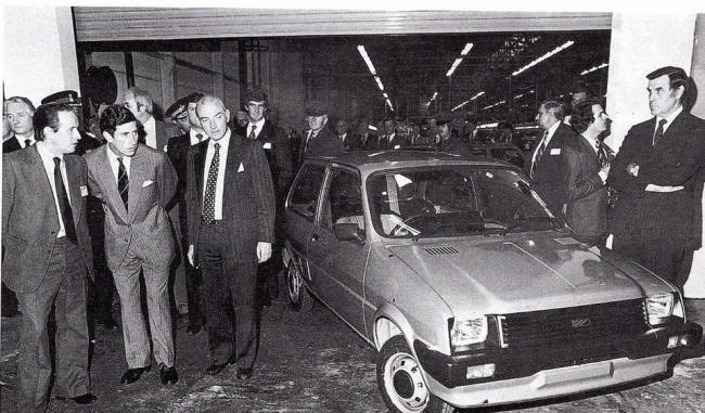 BMC/BL/Rover timeline - 1952-2005 - Harold Musgrove demonstrates the Austin Metro to Prince Charles, Longbridge 1980