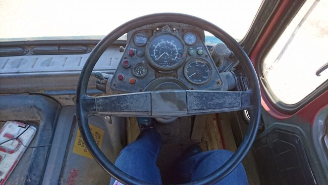 Minimalistic is the best term for the ergonomic GKN-assembled cab. Yet, despite the age of the design stemming back to the 1960s, it all still functions well. Perhaps the Roadrunner design team got their inspiration for the dashboard design as the idea of everything being based around the steering column is the same