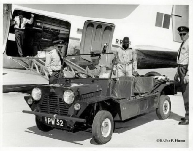 RAAF Moke being unloaded from a DC3 aircraft.