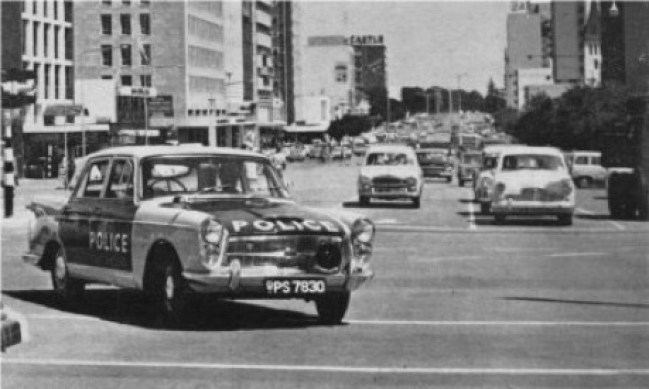 BMC in Rhodesia: Salisbury Rhodesia early 1960s, locally supplied Austin Westminster Police car