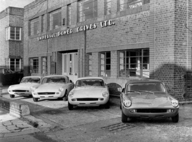 Four brand new Unipower GT's lined up outside the factory in Perivale, London.