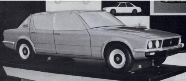 Triumph Puma clay model, which for many years was misidentified as a proposal for Rover by Michelotti. (Picture:The Rover SD1 story,by James Taylor).