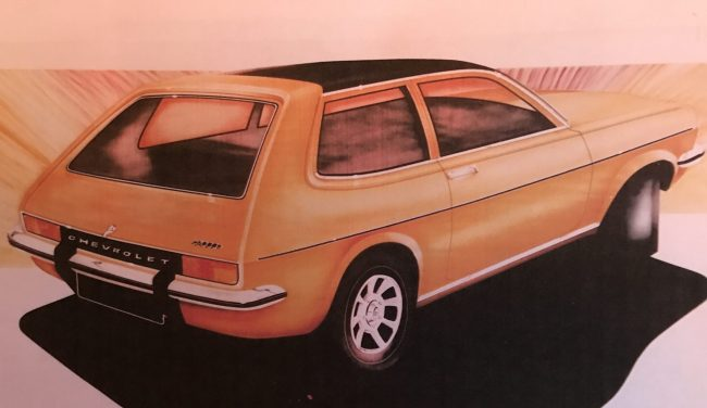 Chevrolet Hatch design sketch penned in Luton shows how the Chevette hatchback's rear door was integrated into this design