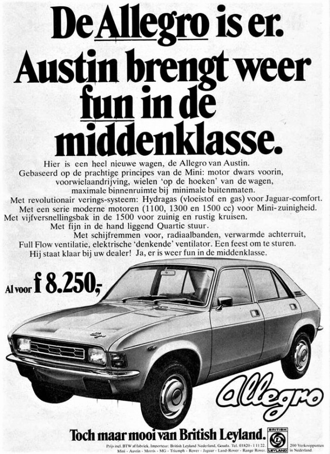 The early Allegro in the Netherlands - 1974. 'The Allegro is here -Austin brings more fun to family cars'.