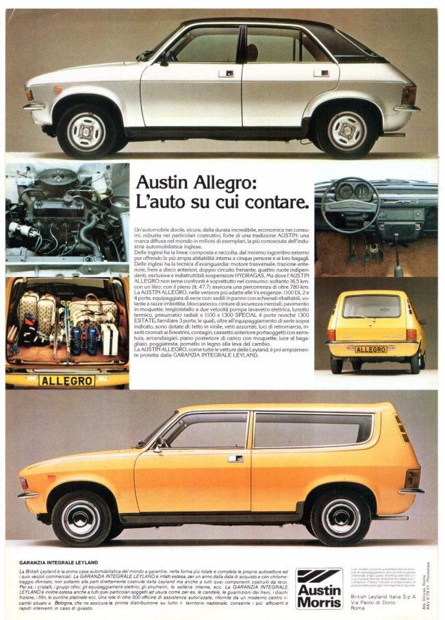 Series 2 Allegros in Italy c.1978. 'The car you can count on.'