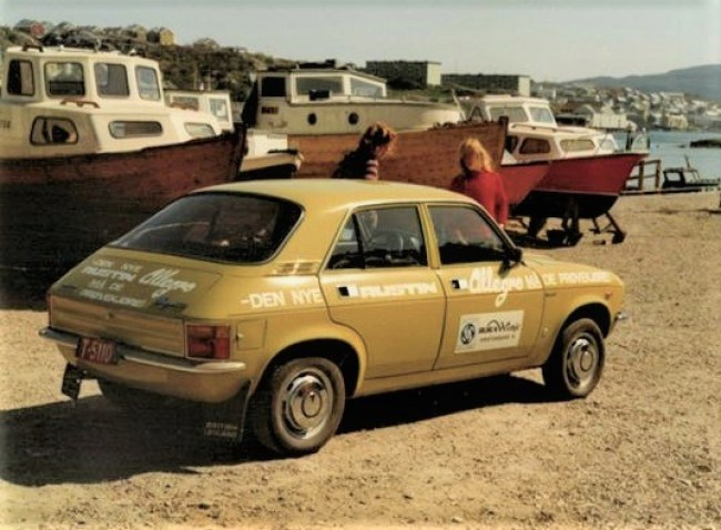 An early Austin Allegro in Norway - 1974. Complete with dealer advertising encouraging test-drives. Most Allegros supplied to Norway would be Seneffe assembled. Photo: Erling Winje.