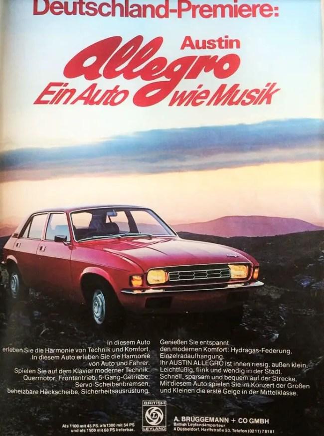 """Austin Allegro - a car (as harmonious as) music"". German introduction of the Series 1 Allegro - 1974."
