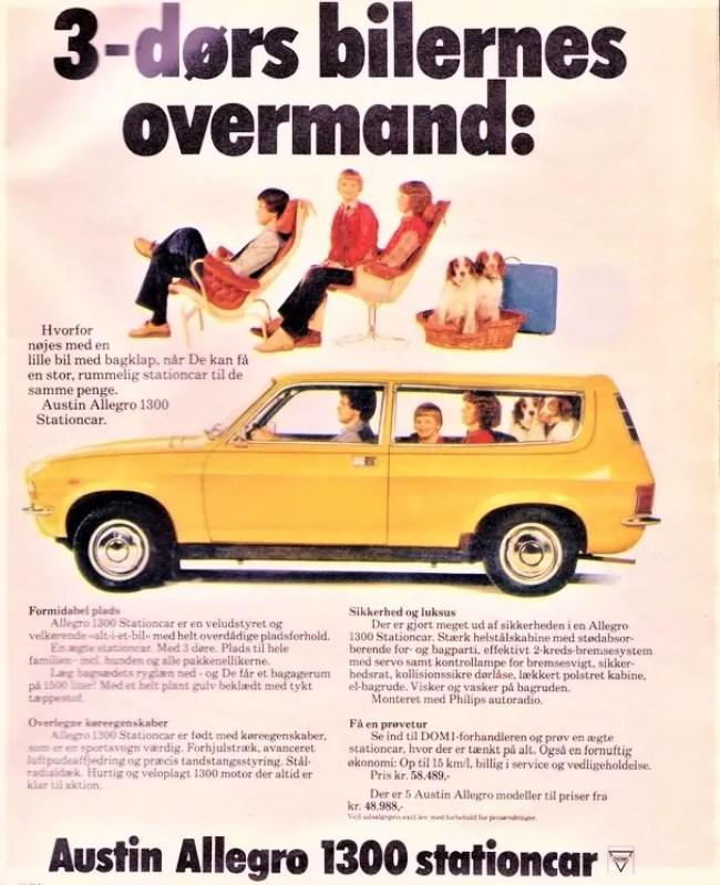 "Austin Allegro Estate (""Stationcar"") - Denmark 1979. ""Beats 3-door (hatchback) cars""."