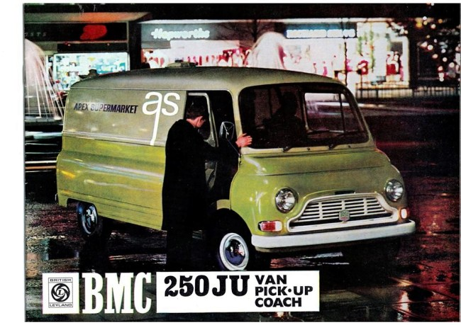 """Following the creation of British Leyland in 1968, the 250 JU range (including the coach) was branded """"BMC"""" - usually with a BMC badge above the grille. BMC lived on for a while as a division of British Leyland."""
