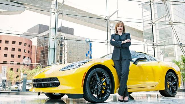 Mary T Barra with Corvette