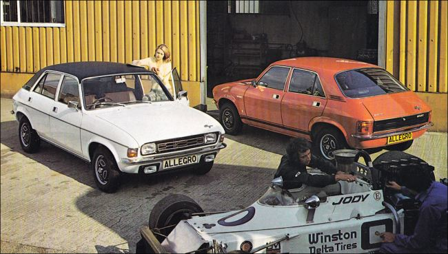 """The new twin-carb Allegro 1750HL (left) and 1750 Sport models were announced in September 1974. Note """"go-faster"""" stripes above the sills of the Sport. They replaced the previous (single carb) Allegro 1750SS (Sport Special) and Allegro 1750 Sport."""