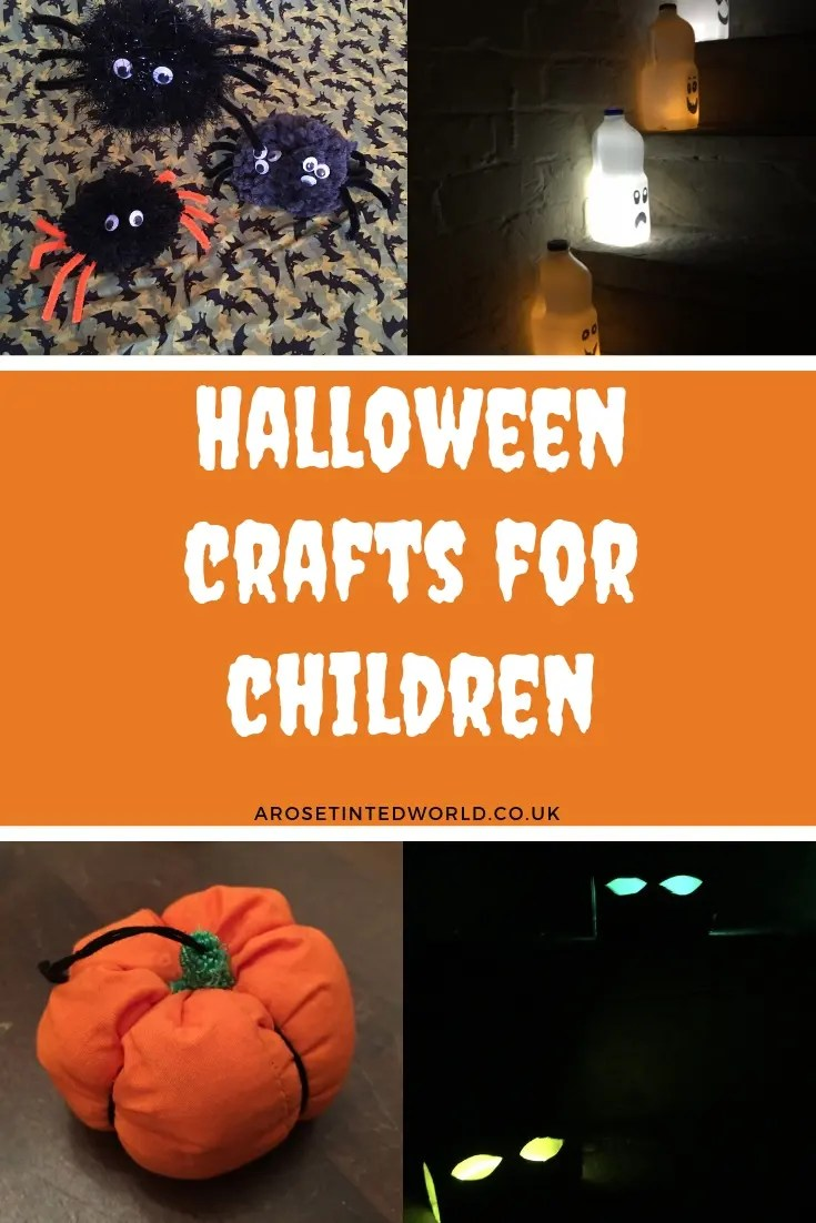 Halloween Crafts For Children - here are some great halloween makes that even a toddler can help with. Make some spooky milk ghosts, some ghostly glowing eyes and some scary pompom spiders. Full, easy DIY tutorial for each make in this post. Simple instructions. Brilliant decorations for parties, porches and paths on the big day. Great hallows eve decor ideas. #halloween #halloweencrafts #halloweencraftsforchildren #halloweencraftsforkids #halloweenideas #halloweenparty #halloweendecorations