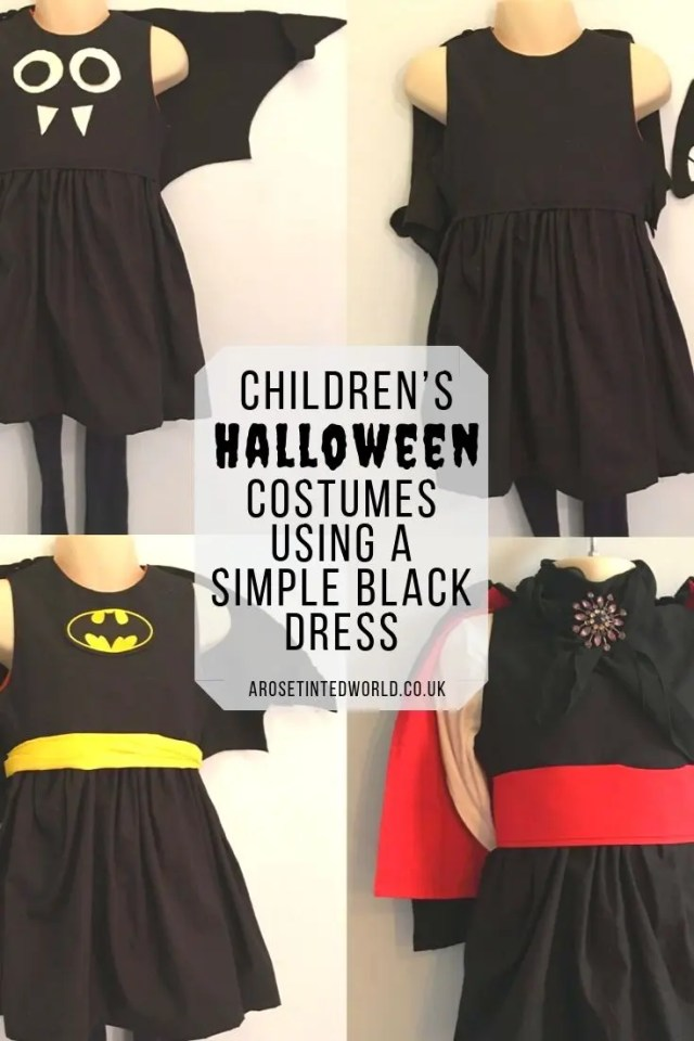 Halloween Outfits Made Around A simple Black Dress - outfits for children dressing up that use a black dress as their base #halloweencostumes #halloweenoutfits #halloweenpartyideas #halloweencostumesforkids #halloweendiy #halloweencrafts #halloweencostumeideas #halloweenwitch #dressingup #dressupideas