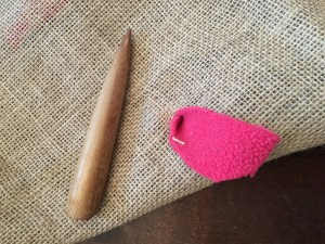 Making a rag rug - half clip done