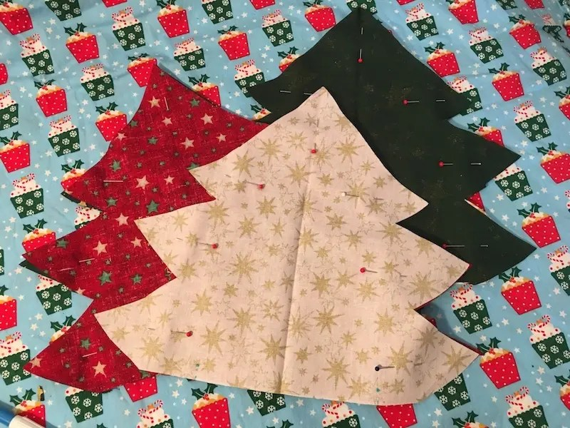 Padded Fabric Christmas - pinnedTrees