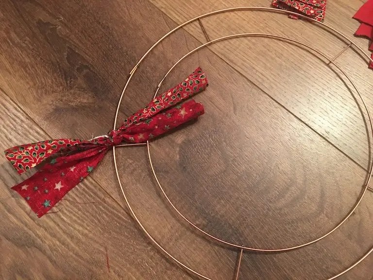 Festive Rag Wreath - starting to make