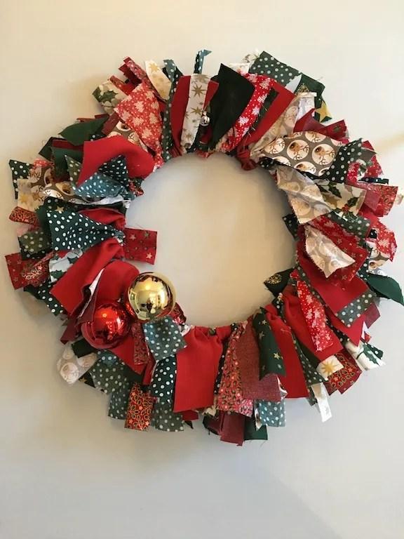 Festive Rag Wreath - finished