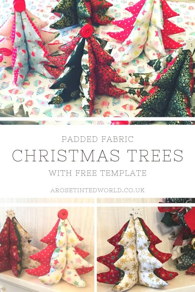 Padded Fabric Christmas Trees - a great idea for a table centrepiece, Gift or Christmas Decoration - make them to match your decor. Free template and picture tutorial #sewing #christmassewing #christmascrafts #christmasdecorations #christmasdecor #christmasdiy #sewingforchristmas #christmassewingprojects #sewingtutorials #sewingprojects #sewingcrafts #christmastrees
