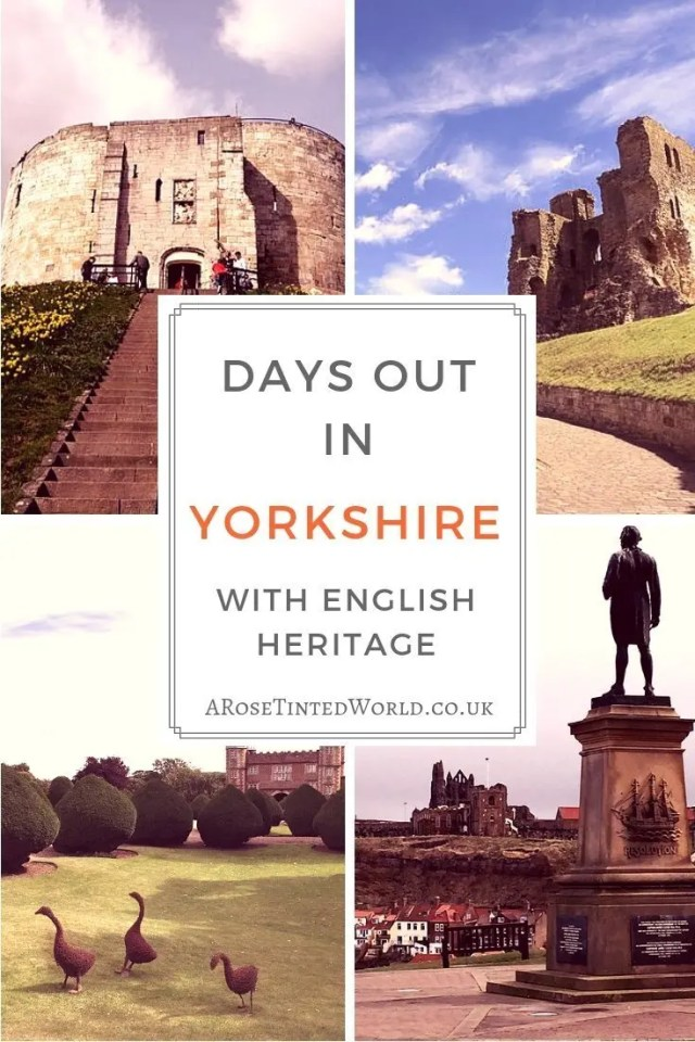 Days Out In Yorkshire with English Heritage - there are some amazing places to visit in Yorkshire, U.K. and here are some of the ones in Yorkshire owned by English Heritage. Go on Day trips to some of the most amazing historic and scenic places in the country. #daytrips #daytrip #yorkshire #englishheritage #castles #castlesofyorkshire #castlesofengland #whitby #whitbyabbey #scarborough #scarboroughcastle #york #yorkbunker #cliffordstower #burtonagnes #placestovisit #placestotravel #placestogo