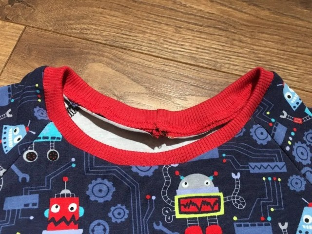 Neck band sewn in and almost finished