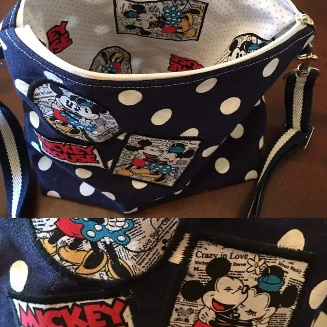 Applique of fabric sc raps applied to a bag outer