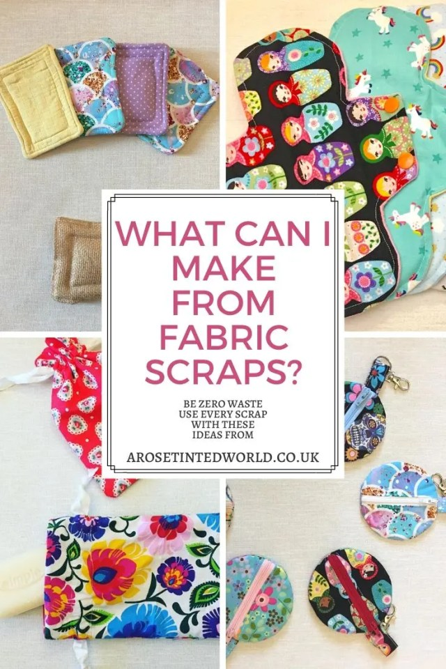 What Can I Make From Fabric Scraps? How To Utilise Every Last Piece Of Scrap Cloth. Use up all the small remnants of cloth in your scrap bag with these brilliant ideas of what to make or sew. Zero waste ways to make great gifts- using up waste fabric and up cycling old cloth to make other things. Ideas of what to make from all the small pieces of fabric left over from other projects #zerowaste #recycled #upcycled #fabricscraps #scrunchies #giftideas