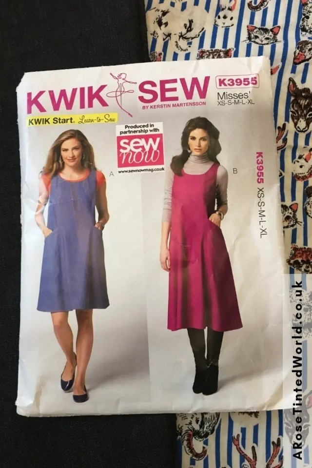 Kwik Sew K3955 - A Pinafore Dress With Deep Pockets - How I found sewing this dress pattern and my thoughts. Make your own using this pattern and the fabric of your choice. #sewing #dresspattern #kwiksewdress #kwiksewk3955 #sewingtutorials #sewingprojects #diy #sewingclothes #sewingdresses #sewingpinafores #pinaforedress #sewingpatterns #dressmaking #dresspatterns #pinafore
