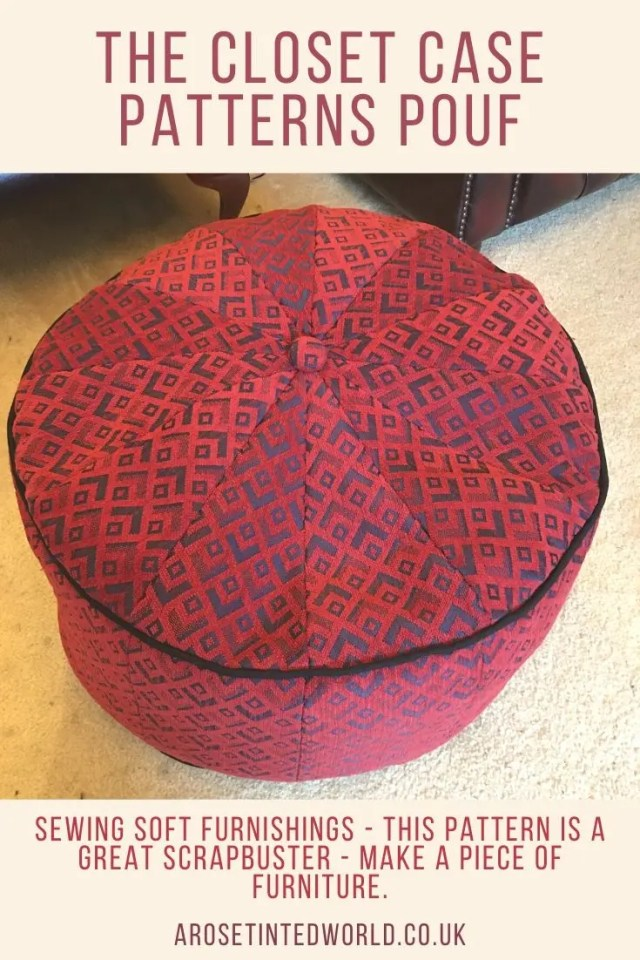 Sewing Soft Furnishings - The Closet Case Pouf is a great scrap busting pattern to use up fabric scraps and remnants to make a piece of furniture. Easy sewing pattern to DIY your own piece of furniture. #pouf #poufchair #poufpattern #sewapouf #sewingprojects #sewingpatterns #closetcasepatterns #closetcasepouf #sewing #furnitureideas #furniturediy