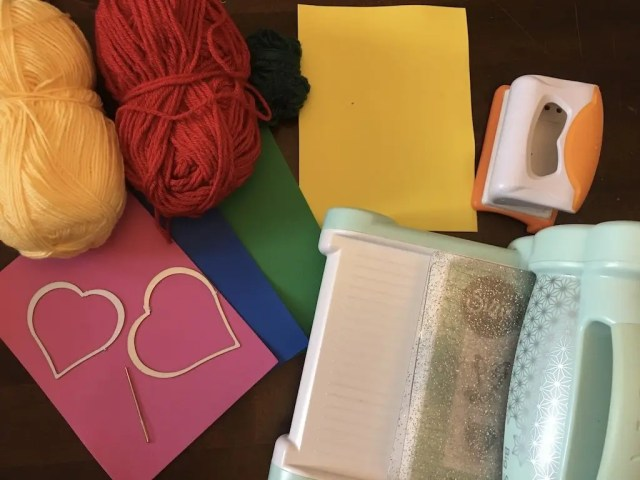Materials needed for sewing cards