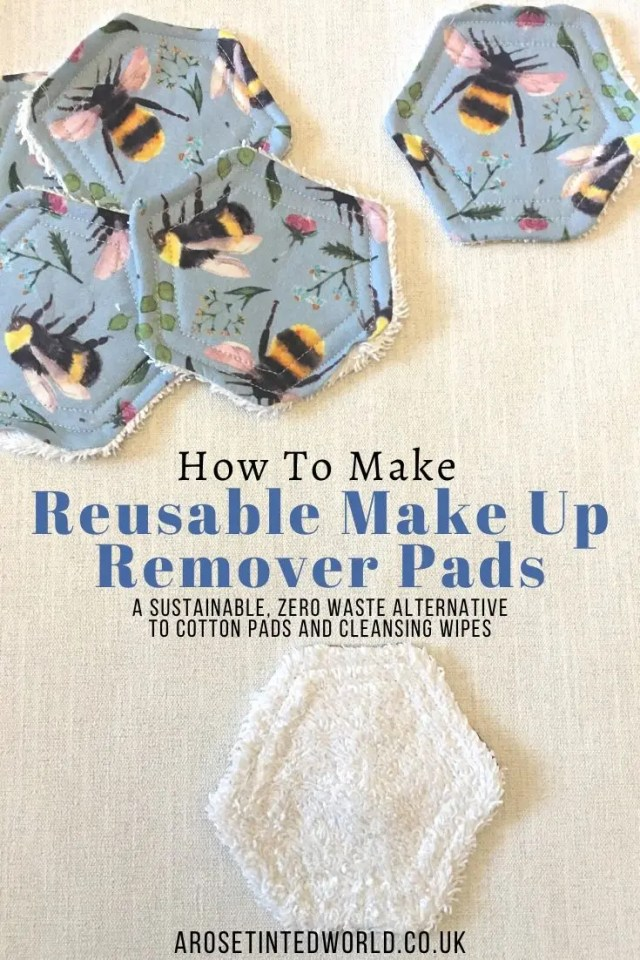 How To Make Reusable Make Up Remover Pads - these are a great zero waste, sustainable alternative to cotton pads & wipes. Full step by step sewing tutorial - up cycle old towels and fabric scraps. #sewing #tutorial #makeupremoverpads #upcycled #sustainable #zerowaste #easysewingproject #sewingprojects