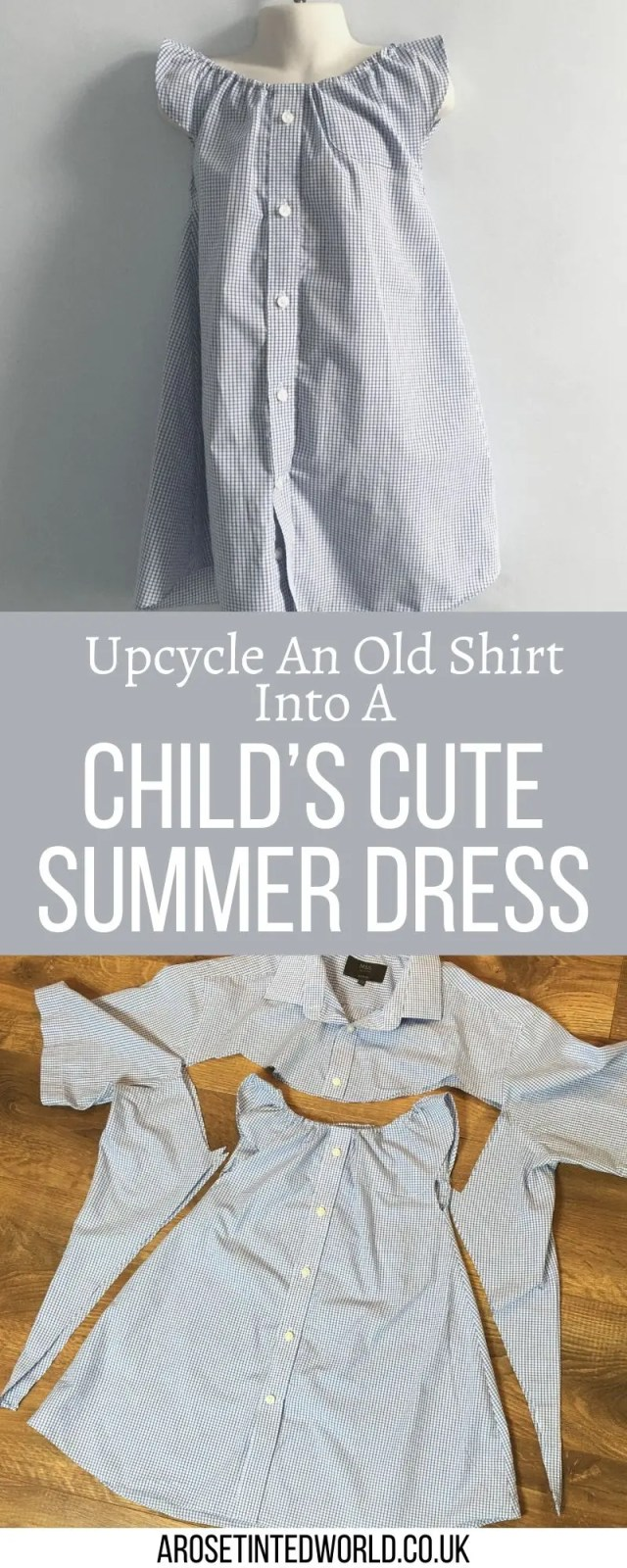 How To Upcycle A Shirt Into A Child's Dress - repurpose a man's shirt into something cute and summery. This step by step sewing tutorial shows you how to make an old shirt into a cute little girl's dress. Reuse old clothes.Reuse, repurpose and recycle fabric with these thoughts and patterns. Upcycle your old clothing and cloth to make fabulous new things #upcycling #sustainableliving #sustainablefashion #sustainable #sustainability #upcycling #upcycleclothes #upcycledclothes #zerowaste #fastfashion #zerowastelifestyle #ecofriendlyideas #recycleclothes #upcycledshirt