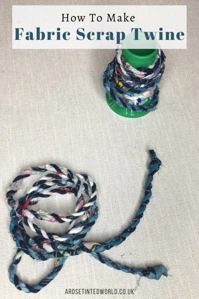 How To Make Scrap Fabric Twine - repurpose all your long thin cloth remnants, upcycling and repurposing them into something new & useful. This thin rope has a host of uses, from jewellery to zero waste packaging and wrapping. Great zero waste up cycling project. Be sustainable and ecofriendly by stopping all these scrap fabric pieces from ending up in landfill #fabricscraps #zerowaste #recycle #sustainable #upcycled #upcycling