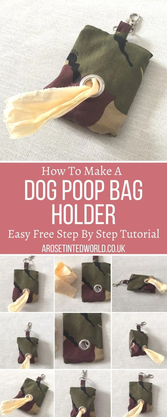 How to Make A Dog Poop Bag Holder - ever forget your dog poo bags? Or lose them in your bag or pockets? Then use this easy step by step sewing tutorial to make a convenient, useful and handy dispenser. Perfect dog walking and dog lovers gift or present accessory. #sewing #dogpoopbagholder #dogwalking #giftsfordogowners #dogownergifts #dogaccessory #dogs