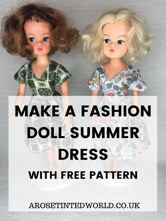 Make A Doll Summer Dress - create your own Sindy or Barbie fashions with this free dress pattern. Doll clothes patter to fit an 11 and a half inch fashion doll. Minature dress pattern. A step by step, easy picture sewing tutorial. Full simple instructions for beginners. Easy sewing project. Dolly couture. #sewing #dollsclothes #dollscouture #dolls #dolldress