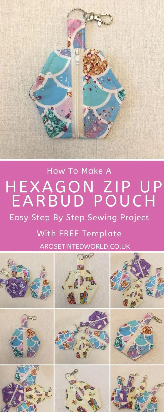 How To Make A Hexagon Zip Up Earbud Pouch - This handy holder clips to a bag to keep your ear buds or loose change safe. Great gift or item to make & sell. The hexagonal pattern is more zero waste as it tessellates. A great scrap busting design to use up all your little fabric scraps. Useful handy coin purse item. Easy step by step sewing project for beginners. Free template included in this simple pictorial tutorial. #sewing #easysewingprojects #zerowaste #sewingtutorial #fabricscraps #DIY