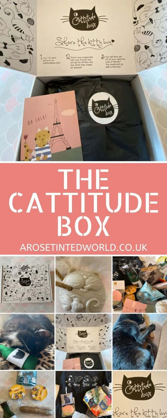 The Cattitude Box is a monthly subscription box for cat lovers. Have a feline loving friend? This could be the purr-fect gift idea! Great idea as a Christmas, birthday present for a cat lover. Monthly subscription box or stand alone boxes available for purchase. Unique gift idea.