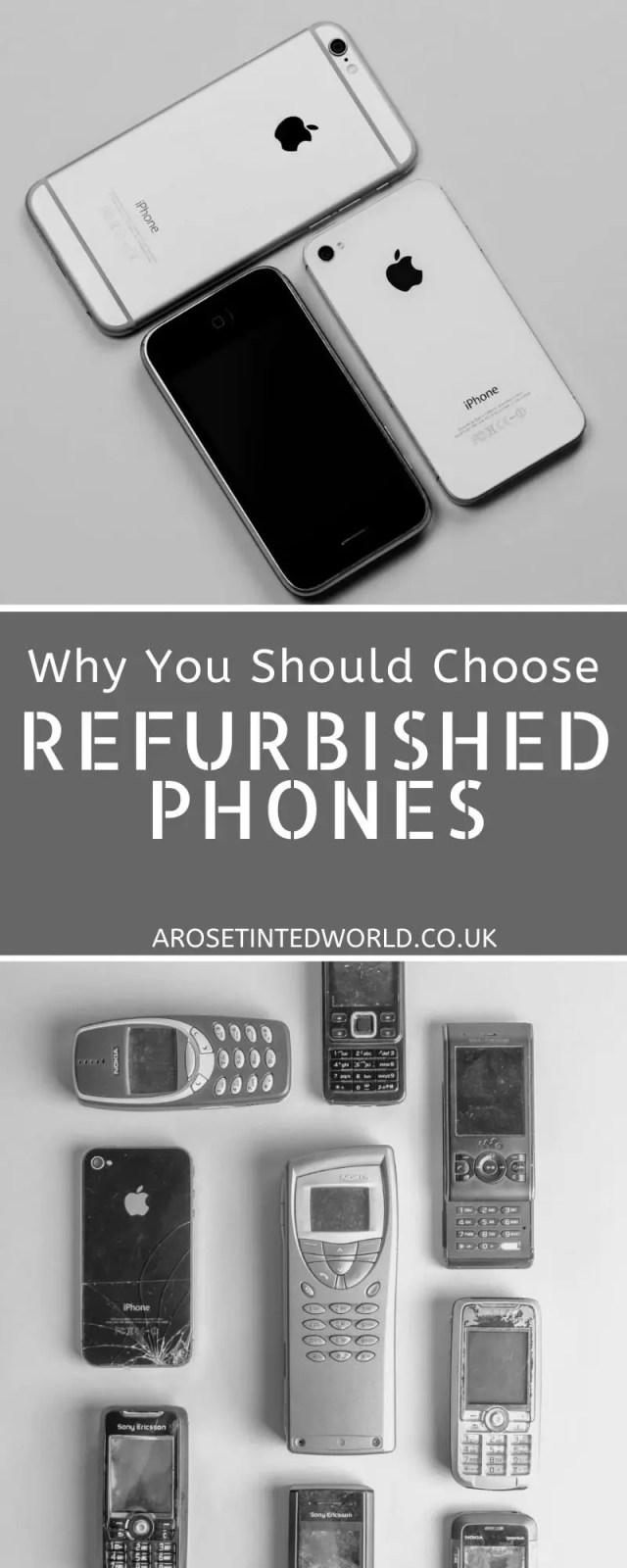 Why You Should Choose Refurbished Phones - Choosing to buy used or refurbished tech can save you money & is far more sustainable. See how you can save money by buying second hand tech. Why second hand does not always mean used. Why 'as new' or 'nearly new' may never have been used. And what to do with your old tech to be more ecofriendly. #sustainableliving #oldphones #refurbished #sustainability