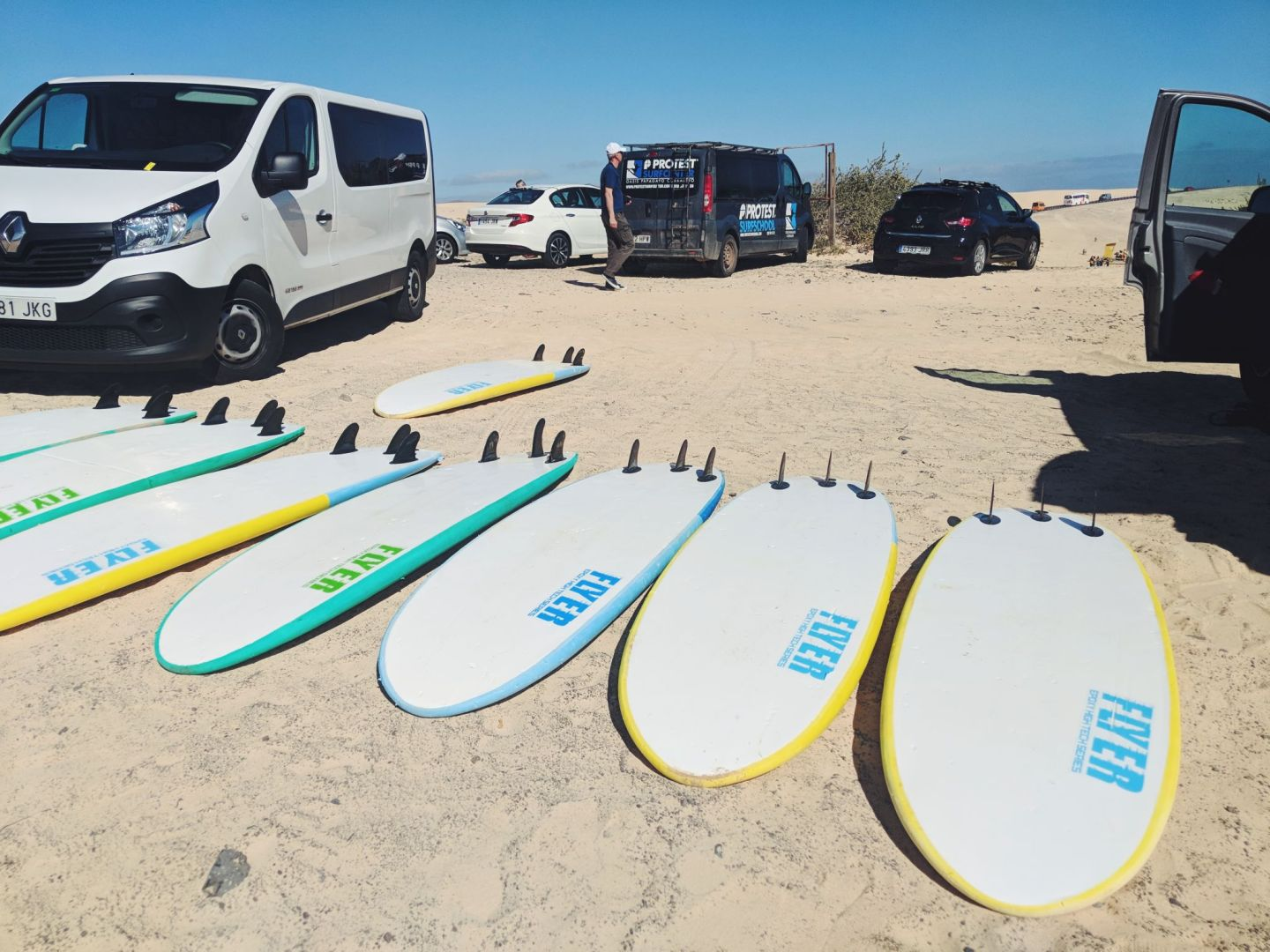 Surfboards at Planet Surf surf camp in Corralejo