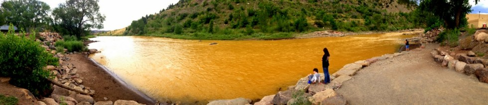 polluting the river