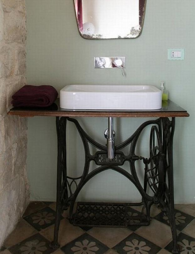 Mesas de maquinas de coser antigua reciclada