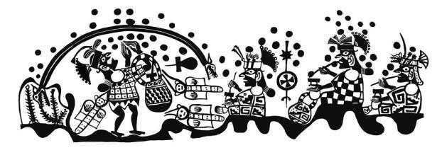 Ai-Apaec y la serpiente bicéfala Ai-Apaec participa en un ritual chacchando coca junto con sus anfitriones, los cuales portan armas propias de los vecinos altoandinos. Por encima de la escena aparece una serpiente bicéfala al tiempo que parecen iniciarse las lluvias. Ai-Apaec captura la serpiente y se la enrosca en la cintura. Dibujo: Christopher B. Donnan and Donna McClelland Moche Archive, Trustees for Harvard University, Washington D.C. / MALI