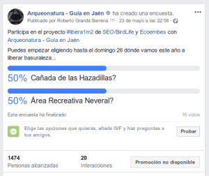 imagen de encuesta en facebook para la elección de sitio libera basuraleza