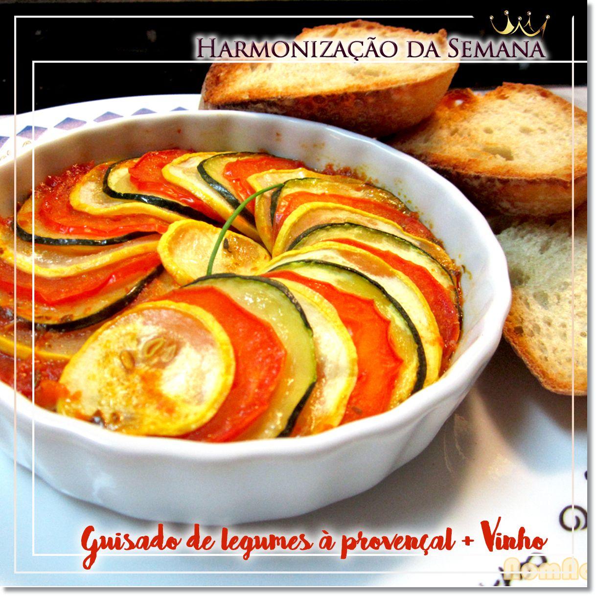 Guisado suave de legumes à provençal em crosta de ciabatta + Vinho