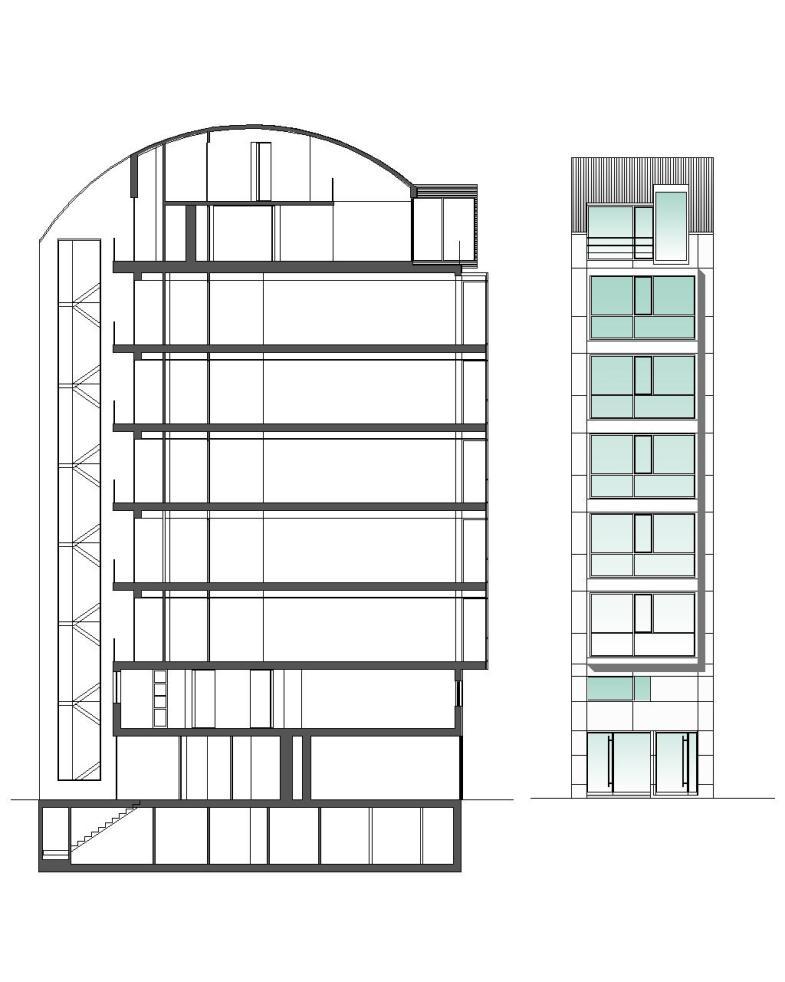 Edificio de Viviendas San Luis - a.f. abeijón-fernandez arquitectos / Corte y Fachada