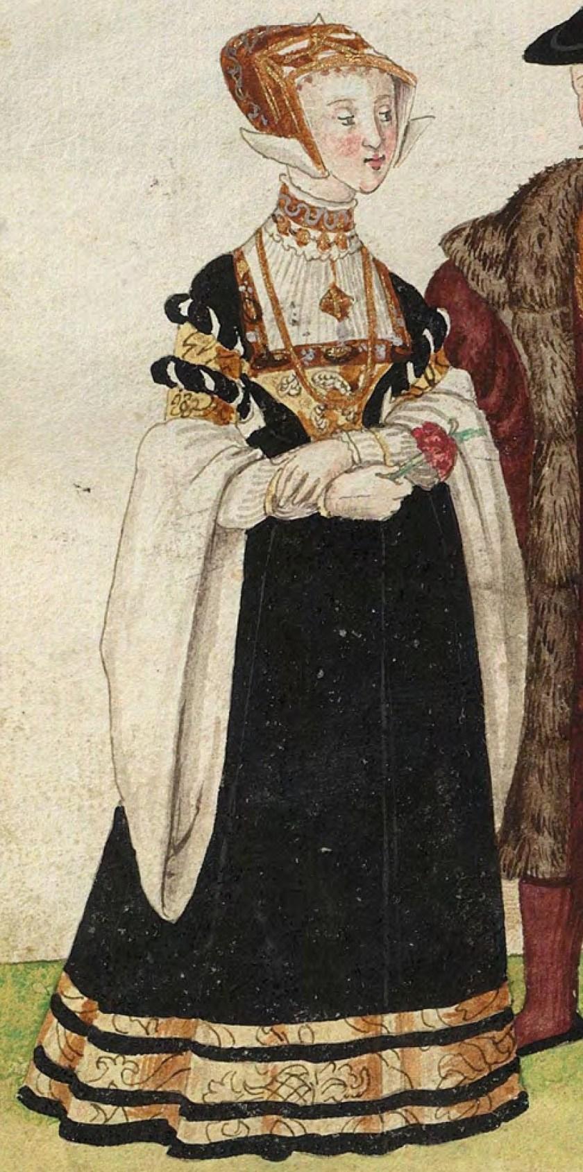1540s Julich nobility. Fig. 1, plate 42v, Codice de trajes, Christoph Weiditz. BNE bdh0000052132