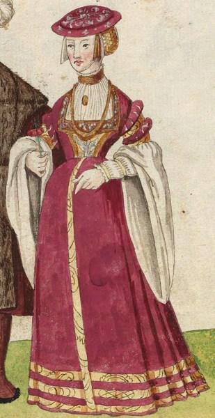 1540s Julich nobility. Fig. 3, plate 42v, Codice de trajes, Christoph Weiditz. BNE bdh0000052132