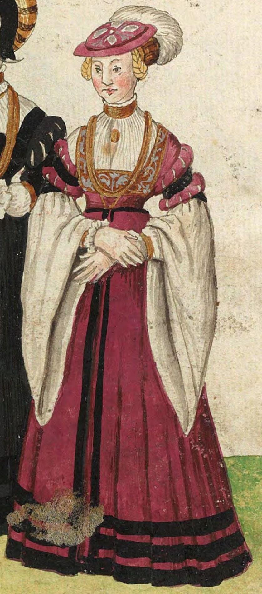 1540s Julich citizen. Fig. 3, plate 43r, Codice de trajes, Christoph Weiditz. BNE bdh0000052132