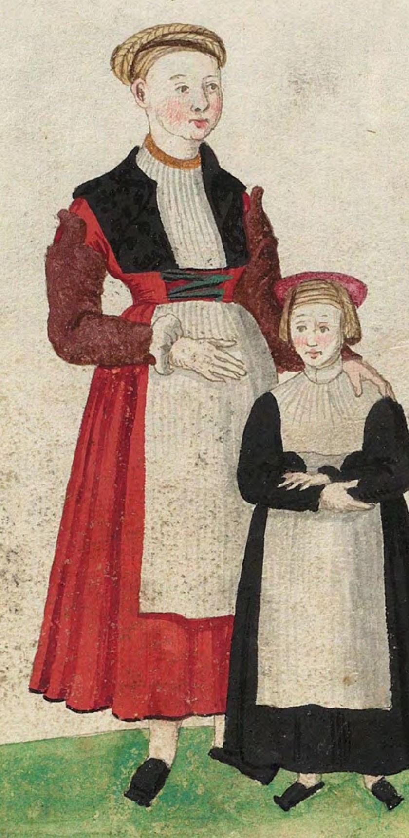 1540s Cologne Burger. Fig. 1, plate 45v, Codice de trajes, Christoph Weiditz. BNE bdh0000052132