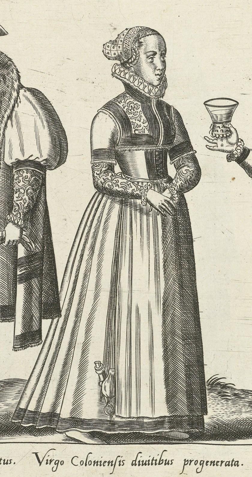 1581 Cologne, unmarried woman. Fig. 3, page 16, Omnium pene Europae, Asiae, Aphricae, Americae gentium habitus [...] de Bruyn. Rijsmuseum BI-1895-3811