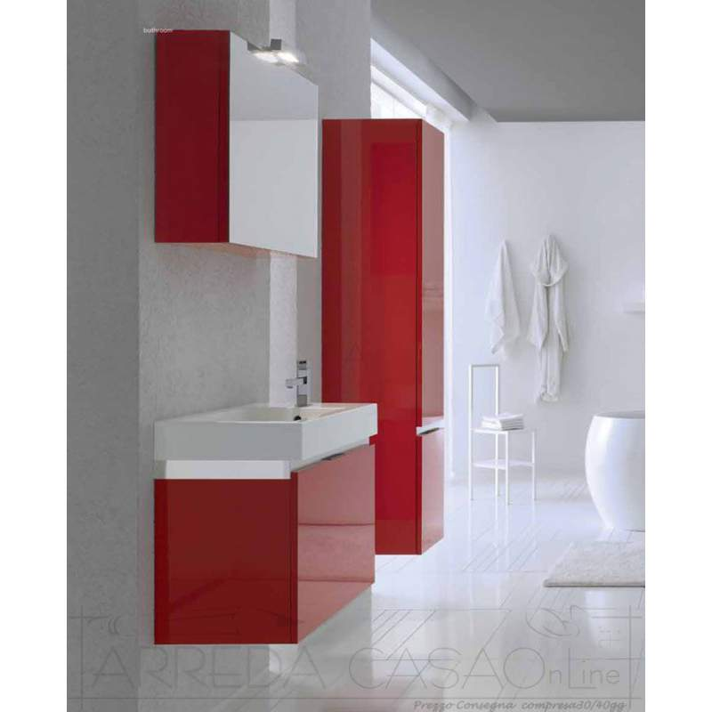 II Mobile Bagno sospeso Rosso con colonna Go03  0 1000 euro  Prezzi Offerte Sconti
